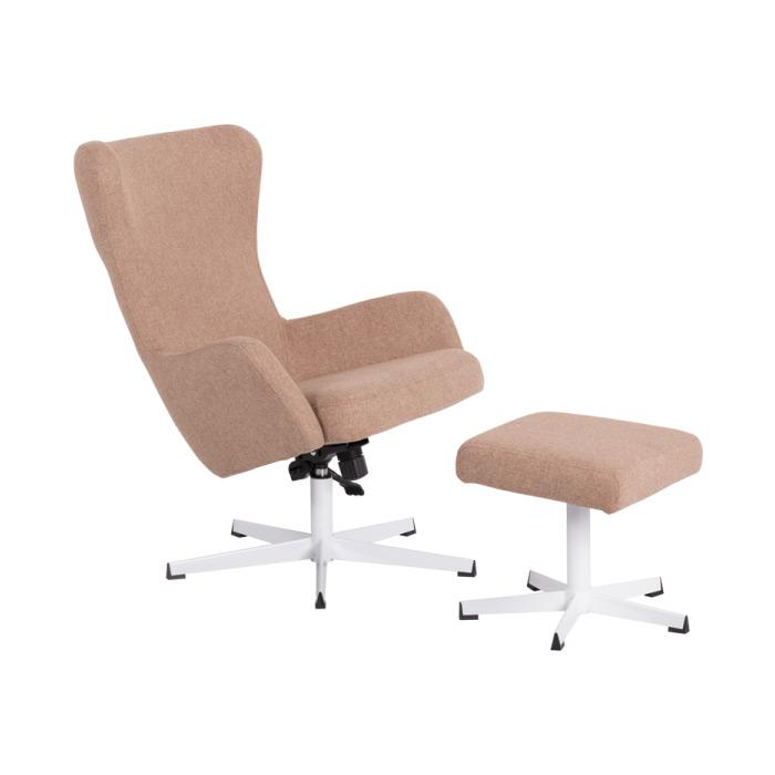 Стилно кресло с люлееща функция и табуретка-залатно бежово-снимка с табуретка