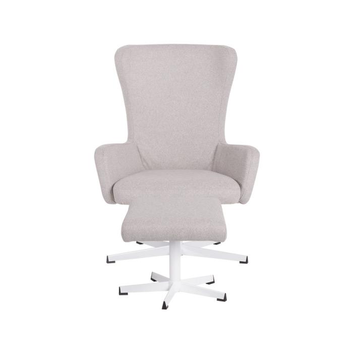 Светлосиво кресло с люлееща функция и табуретка-отпред