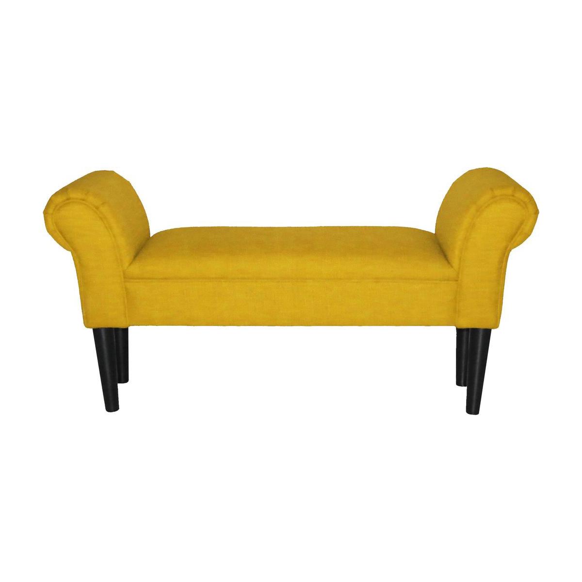 Текстилна пейка с извити подлакътници - жълта