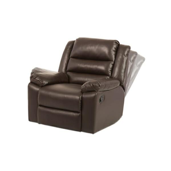 Тъмно кафяв фотьойл от еко кожа с релакс механизъм-демонстрация