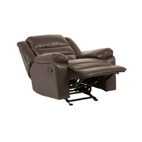Тъмно кафяв фотьойл от еко кожа с релакс механизъм и люлееща функция-демострация на механизма