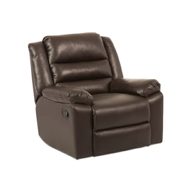 Тъмно кафяв фотьойл от еко кожа с релакс механизъм и люлееща функция-отпред