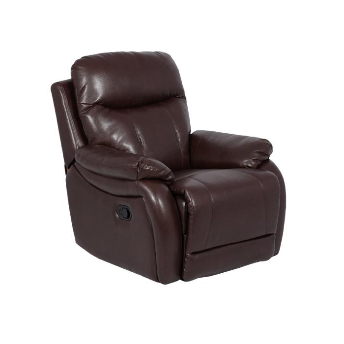 Тъмно кафяв фотьойл от еко кожа с релакс механизъм