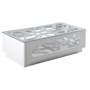 Футуристична ниска стъклена маса - бяла