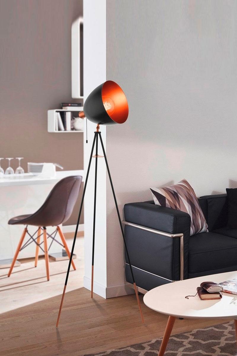 Черен лампион тип трипод-серия Chester-интериор