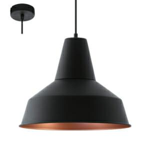 Черен метален пендел в индустриален стил