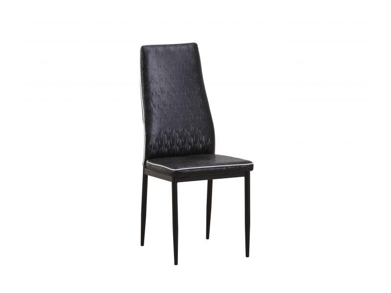 Черен трапезен стол от еко кожа, с метални крака