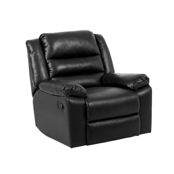 Черен фотьойл от еко кожа с релакс механизъм и люлееща функция