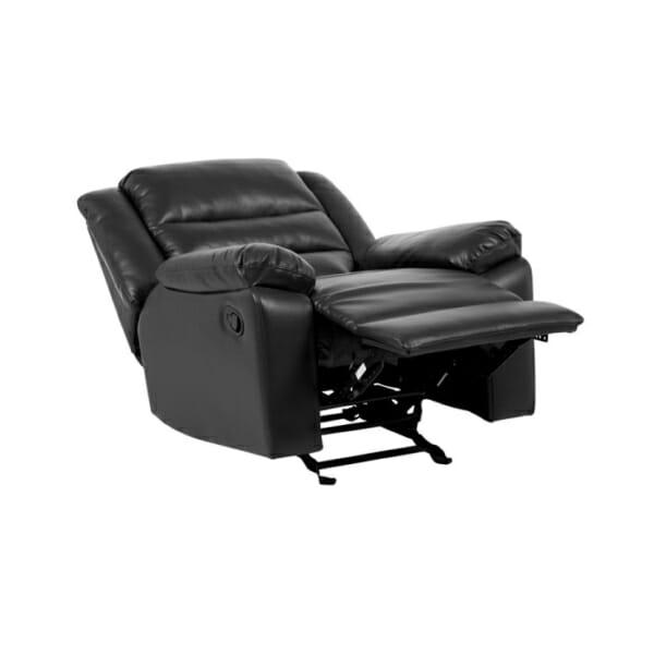 Черен фотьойл от еко кожа с релакс механизъм, люлеещ