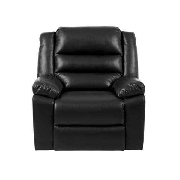 Черен фотьойл от еко кожа с релакс механизъм и люлееща функция-снимка отпред