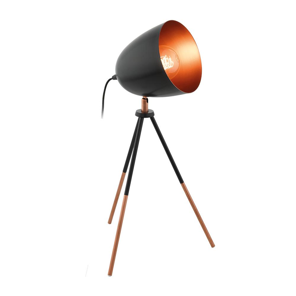Черна настолна лампа тип трипод серия Chester