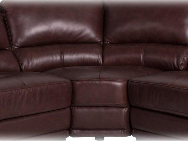 Ъглов диван от естествена кожа - цвят кестен, снимка отблизо