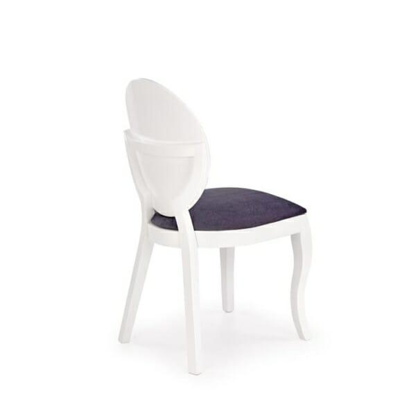 Бял трапезен стол от дърво с кръгла облегалка - гръб