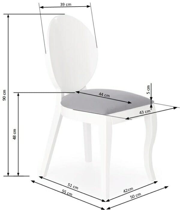 Бял трапезен стол от дърво с кръгла облегалка - схема