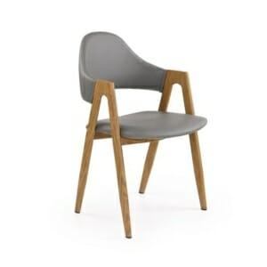 Стилен трапезен стол от еко кожа (2 цвята) - сив