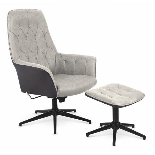 Бежово релакс кресло от еко кожа с табуретка за крака