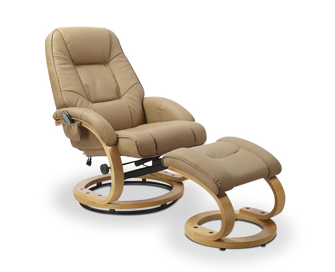 Луксозен стол с табуретка от еко кожа - бежов