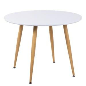 Бяла кръгла трапезна маса