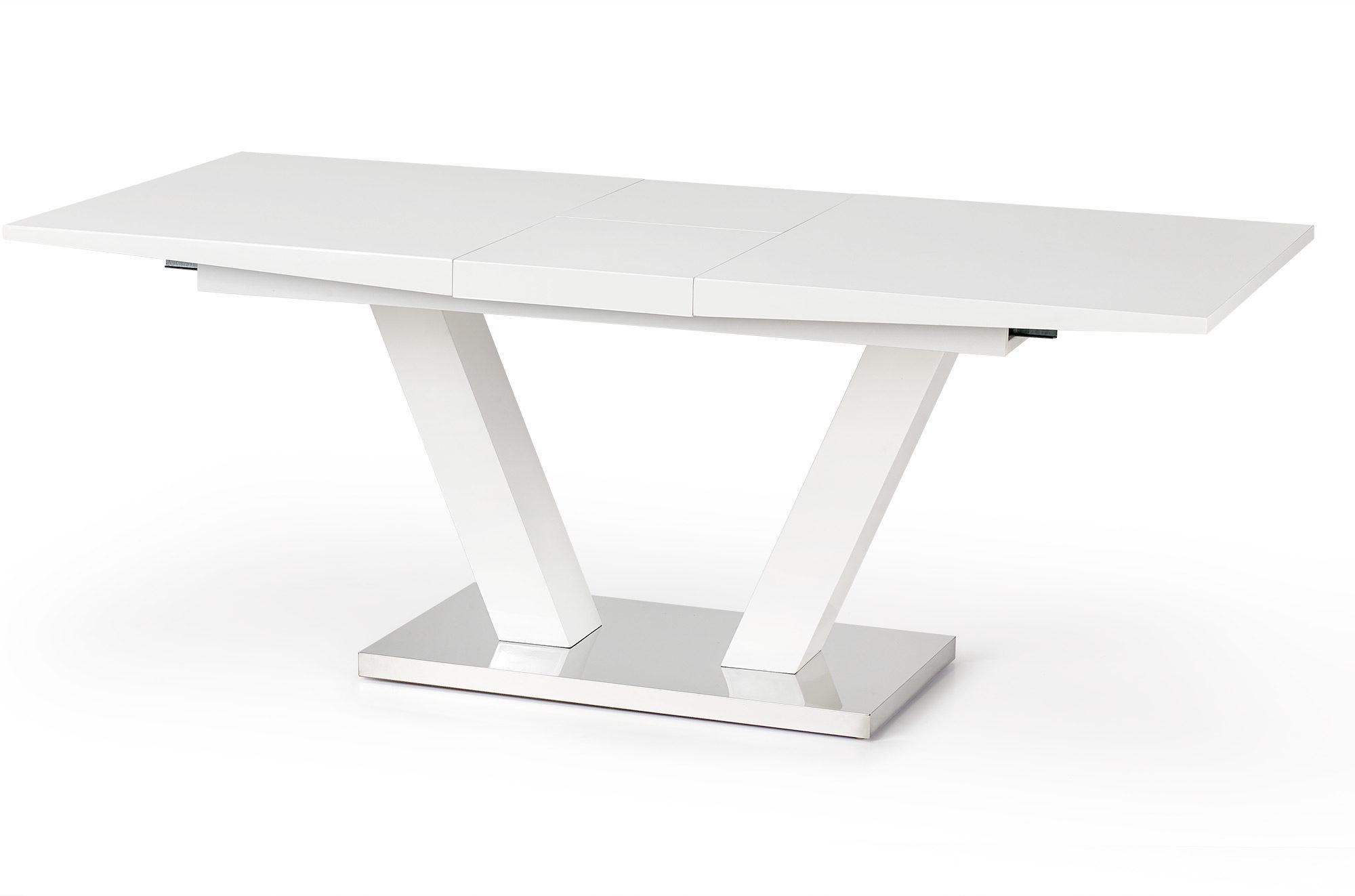 Бяла разтегателна трапезна маса Вижън - разтегната