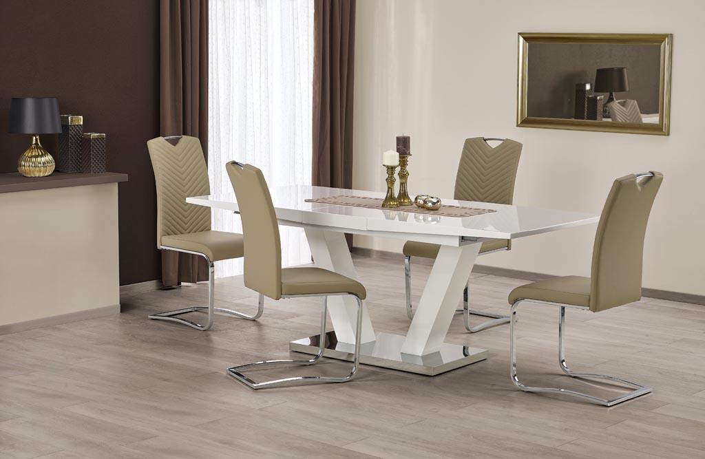 Бяла разтегателна трапезна маса Вижън с 4 стола