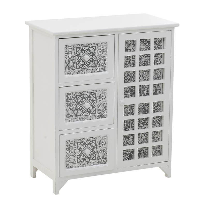 Бял дървен шкаф с шарки в сив цвят
