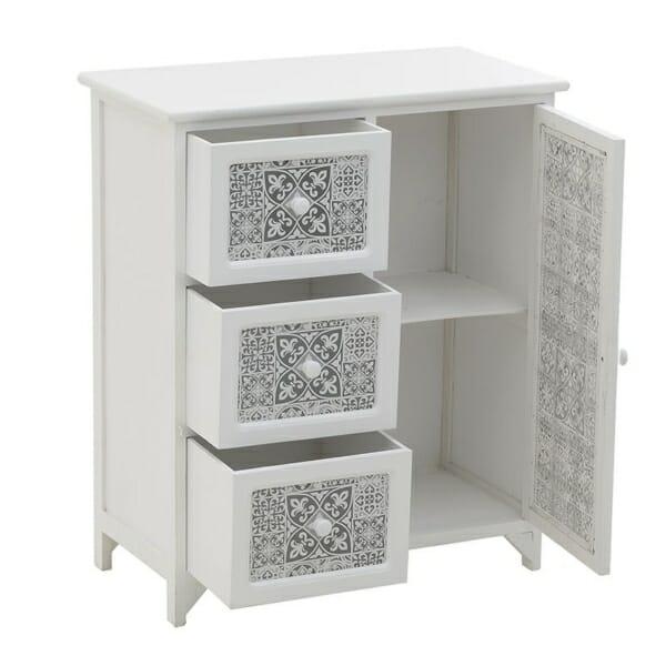 Бял дървен шкаф с шарки в сив цвят - отворен