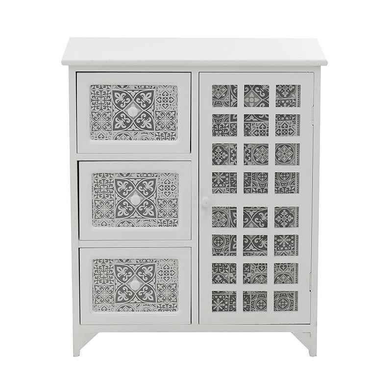 Бял дървен шкаф с шарки в сив цвят - отпред