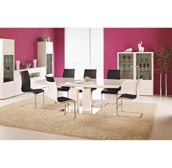 Бяла трапезна маса Лина - с тъмни столове