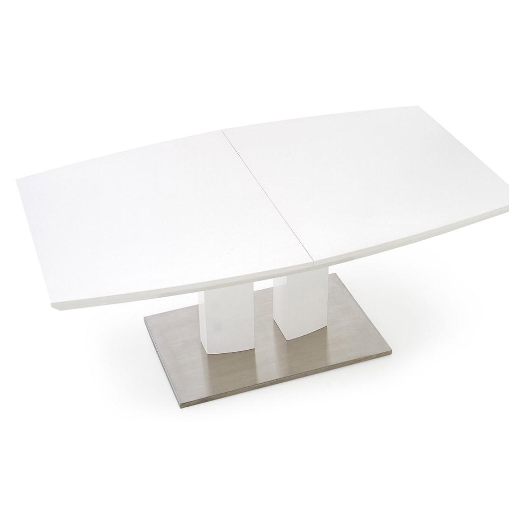 Бяла гланцирана трапезна маса Лина