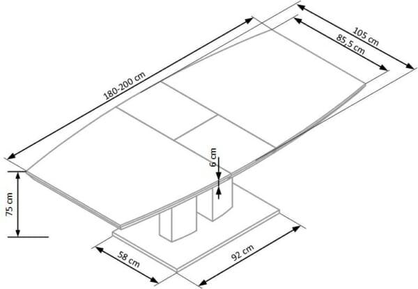 Бяла трапезна маса Лина - схема