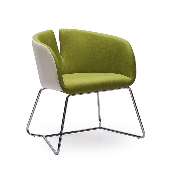 Двуцветен дизайнерски стол с метална основа - цвят зелен+бял