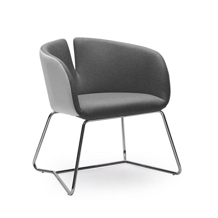 Двуцветен дизайнерски стол с метална основа - цвят сив+бял