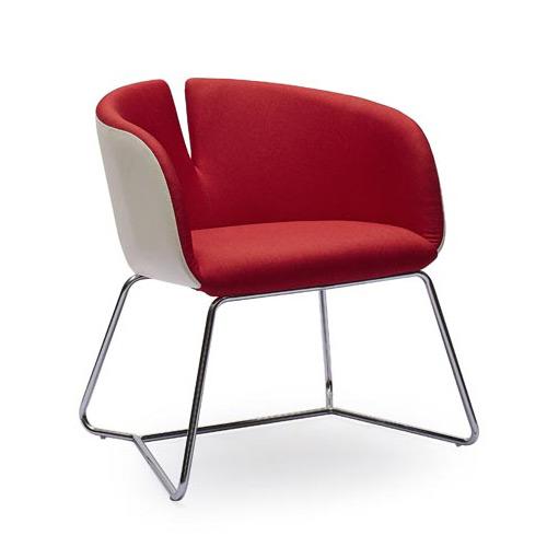 Двуцветен дизайнерски стол с метална основа - цвят червен+бял