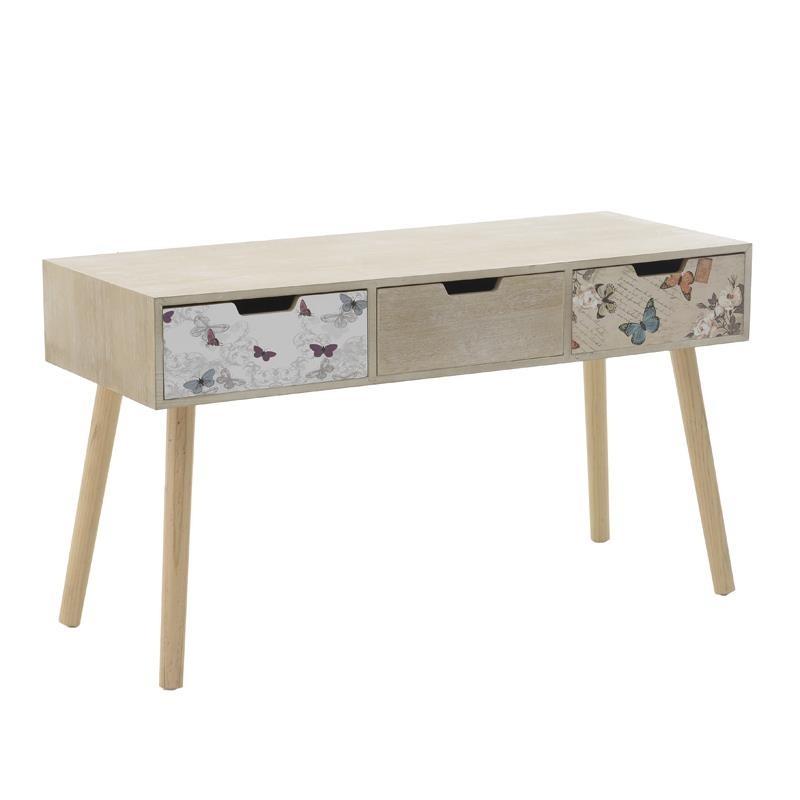 Дървена конзолна маса с 3 чекмеджета