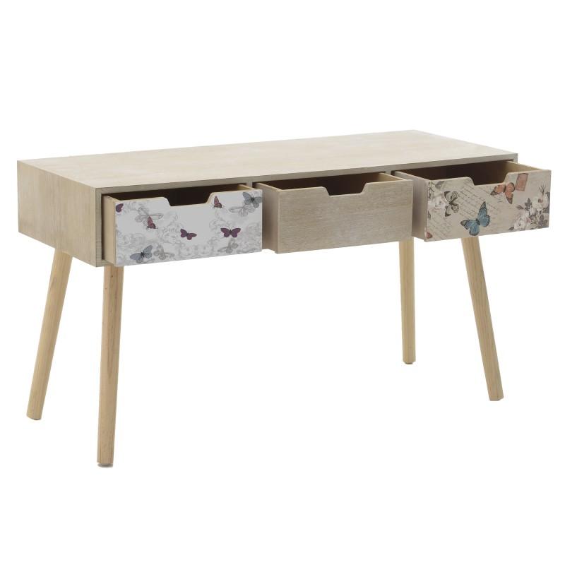 Дървена конзолна маса с 3 чекмеджета - отворена