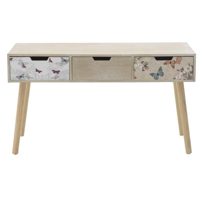 Дървена конзолна маса с 3 чекмеджета - отпред