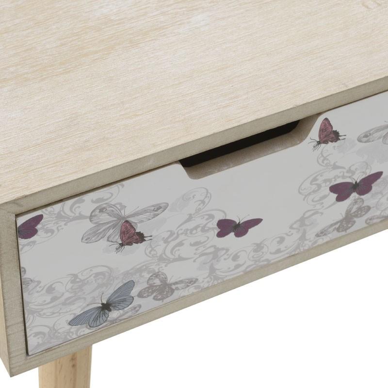 Дървена конзолна маса с 3 чекмеджета - отблизо