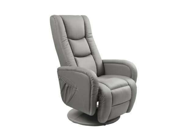 Елегантен сив фотьойл от еко кожа с релакс функция, за хол или офис