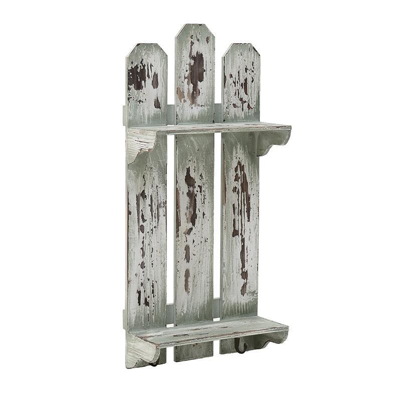 Етажерка за стена с 2 рафта и 2 закачалки