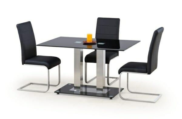Трапезна маса с плот от черно стъкло Винс