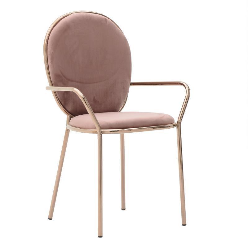 Кадифен стол с обла облегалка и подлакътници в цвят сьомга