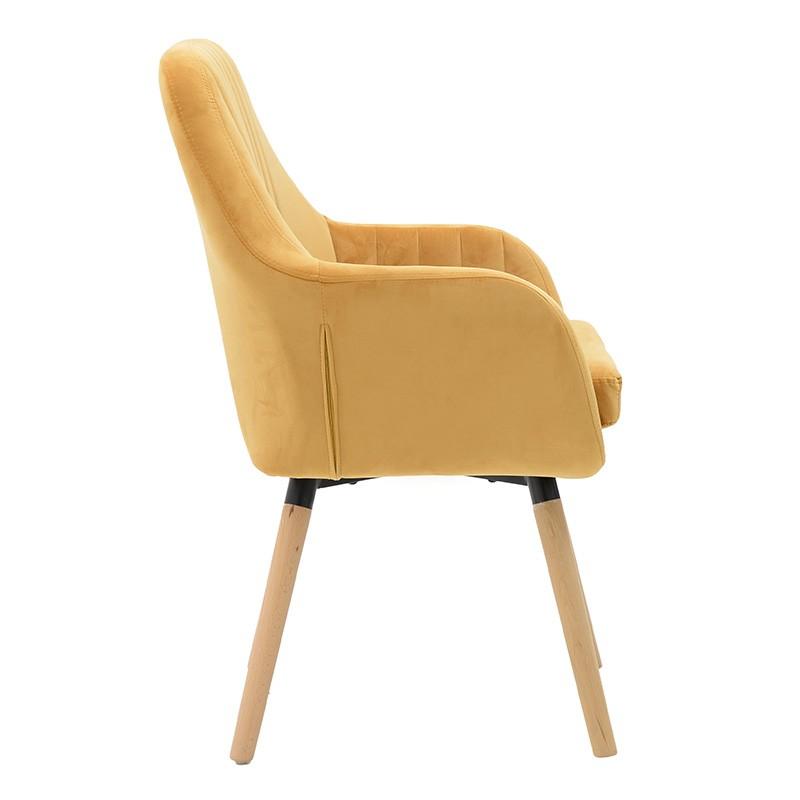 Компактно кадифено кресло - отстрани