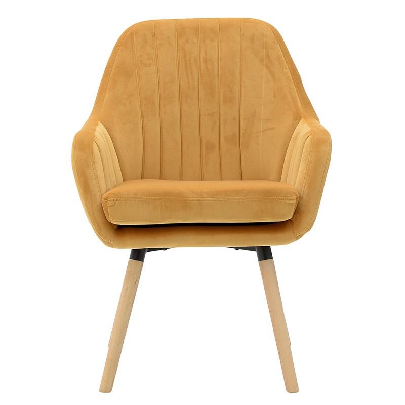 Компактно кадифено кресло - отпред