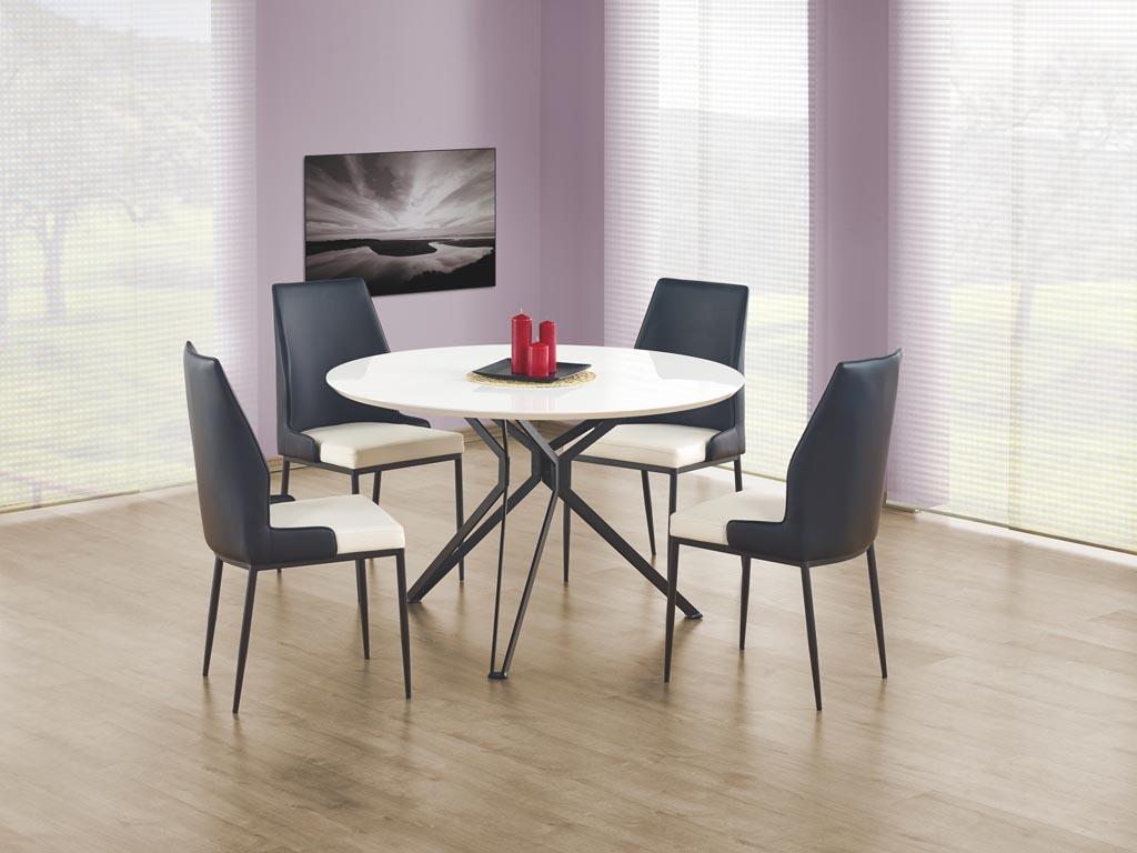 Кръгла маса с бял плот и черни крака Пиер