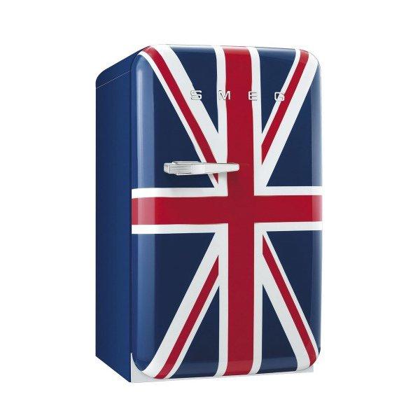 Декоративен мини хладилник с английското знаме на вратата SMEG