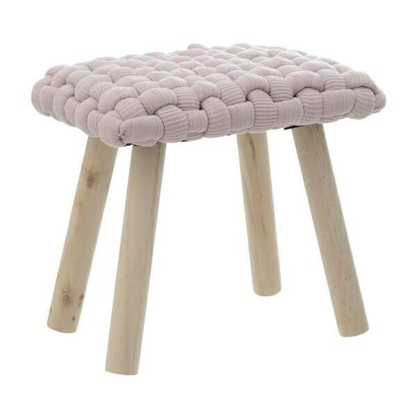Ниска табуретка със седалка от едра плетка в розово