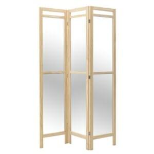 Огледален параван с дървена рамка