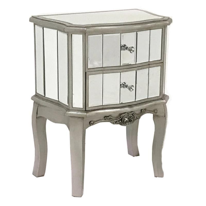 Огледално нощно шкафче с 2 чекмеджета Glamour