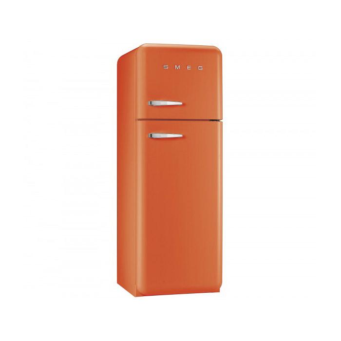 Оранжев хладилник с горна камера SMEG