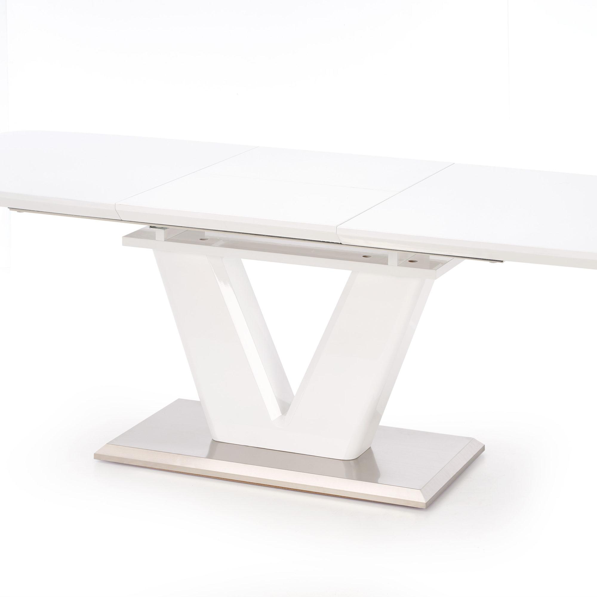 Бяла трапезна маса - разтегната